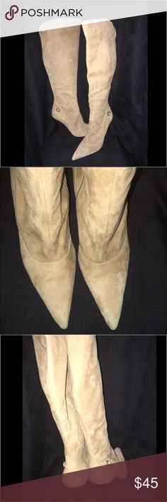 """Via spiga suede over knee boot point toe Like new - no flaws or damage. Worn once . Bottom shows slight wear . Genuine leather quality . Option to fold over top 3.5"""" heel Via Spiga Shoes Over the Knee Boots"""