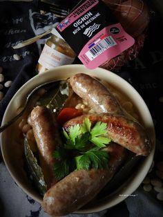 Saucisses de Scaër aux cocos de Paimpol – Quoi qu'on mange ? Sauce Pour Porc, Cassoulet, Sausage, Meat, Food, Pound Cakes, Sausages, Essen, Meals