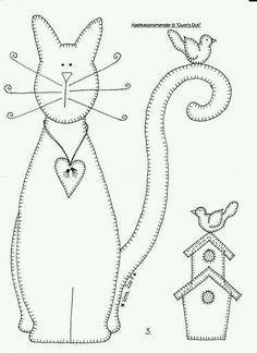 Patroon van kat met vogelhuisje