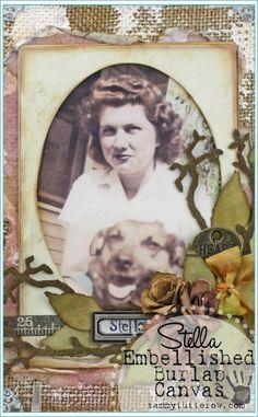 Tammy Tutterow | Stella Embellished Burlap Panel featuring Tim Holtz Sizzix Dies