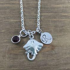 Personalized Stingray Necklace - Hand stamped Monogram Stingray Necklace - Initial, Birthstone Necklace - Swarovski Crystal Birthstone by SunflowerShadows on Etsy