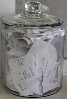 "Keep two identical jars, one top labeled ""THIS MONTH"", one labeled ""LAST MONTH"". Every new month, pitch the receipts from the jar labeled ""LAST MONTH"". Then switch the tops on the other two jars."