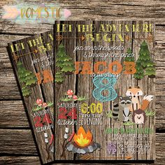 Woodland Critter Birthday Invitation  Camping by Thedomesticmom