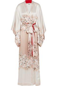 Peignoir kimono en satin de soie à imprimé fleuri Sakura 630€