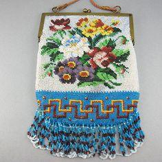 Floral Antique Beaded Bag