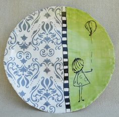 Handmade plate, handpainted with silkscreened decal added.