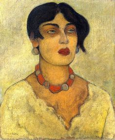 'Portrait of Guadalupe' by Mexican muralist & painter Diego Rivera  (1886-1957)