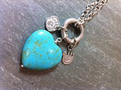 Rosa sterling silver interchangeable charm necklace with turquoise heart, sterling silver chinese good luck & oaxaca dove