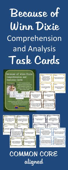 Because of Winn-Dixie Task Cards - High-Level Questions for use while reading!
