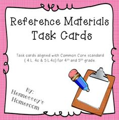 This set contains 28 task cards (4 per page) that help students reinforce the concept of using reference materials. Task cards are both multiple choice and short answer. Students will identify the best reference material to use for a task and then use pint and digital reference materials to answer questions about words and topics.