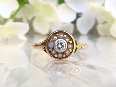 Sweet Antique Diamond and Pearl Engagement by LadyRoseVintageJewel