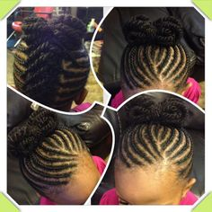 Super cute flat twists up into a bow. Sweet hairstyle for little girls! #african-American hair