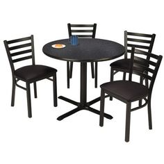 """KFI Seating Round Cafeteria Table and Chair Set Tabletop Color: Graphite Nebula, Seat Color: Black, Size: 36"""" W x 36"""" D"""