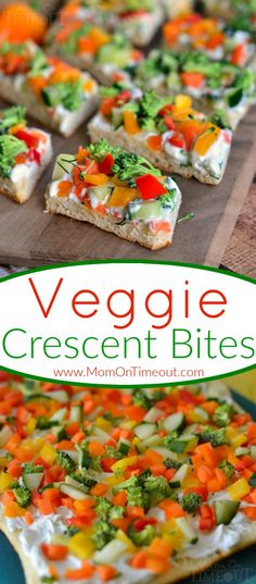 Veggie Crescent Bites are a delightfully light appetizer that everyone will enjoy!  Full of flavor and crunch - these little bites are sure to please! Great for game day, parties, and more!