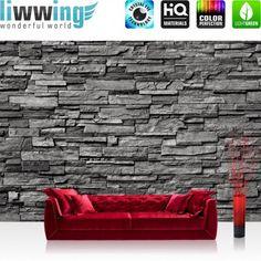 liwwing (R) Marken Vlies Fototapete Noble Stone Wall - anthrazit - INFINITE - aneinanderreihbar | 300x210cm oder 400x280cm wählbar! PREMIUM Marken Vliestapeten sofort ab Lager & günstig, versandkostenfrei innerhalb Deutschland.