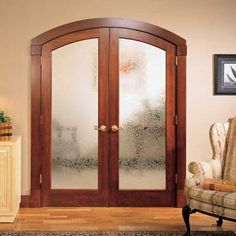 Custom Built Wood French Doors   Interior Double French Door With Gothic  Transom Window Unit, Frosted Glass | DOORS | Pinterest | Interior Double  French ...