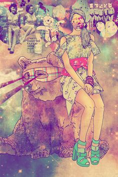 Girl with bear Hipster pop-art by Fac Ciraolo