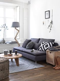 Mix of rustic wood and modern design - canapé ikéa ?