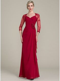 A-Line/Princess Sweetheart Floor-Length Beading Flower(s) Sequins Cascading Ruffles Zipper Up Sleeves 3/4 Sleeves No Burgundy General Plus Chiffon Lace Mother of the Bride Dress