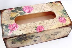 Tissue Box Cover Vintage Red Roses Home by SelenarteDecoupage, £23.50