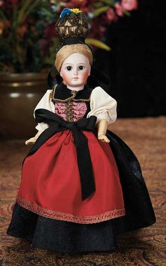 The Lifelong Collection of Berta Leon Hackney: 441 Sonneberg Bisque Doll with Rare Body Style and Original Folklore Costume