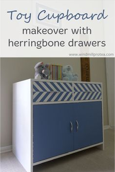 Turn a sad cupboard into a much-loved toy cupboard with herringbone drawers by just using paint.