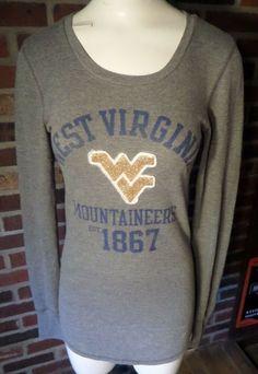 VICTORIA/'S SECRET PINK WVU WEST VIRGINIA MOUNTAINEERS BLING SEQUIN T SHIRT TOP