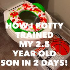 """Great blog about how a mom potty trained within one weekend! Great ideas also, she had a """"potty chart"""" and """"potty toys"""" that worked great for her 2.5 year old son. Awesome read to get some inspiration on what may work for your child!   #pottytraining #moms #toddlers"""