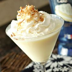 Better than sex caketini- 1/4 cup cake vodka+1/4 cup pineapple juice+1/4 cup coconut cream- garnish with whipped cream and toasted coconut