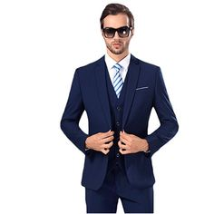 Mens Solid Suit Slim Fit Notch Lapel One Button Tuxedo Blazer Jacket Pants Vest Set *** Click image for more details. (This is an affiliate link) 3 Piece Suit Slim Fit, 3 Piece Suits, Vest Coat, Blazer Jacket, Blazer Suit, Blazer Buttons, Jacket Buttons, Oversized Fashion, Types Of Jackets