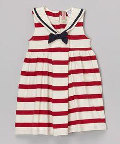 Another great find on #zulily! Red & Cream Stripe Sailor Dress - Infant, Toddler & Girls by Sophie & Sam #zulilyfinds