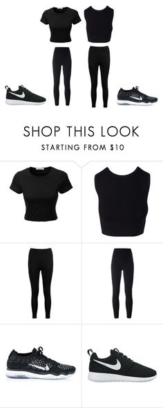"""""""all black"""" by angelinamessina ❤ liked on Polyvore featuring LE3NO, Boohoo, adidas Originals and NIKE"""