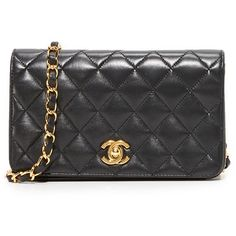 Pre-owned What Goes Around Comes Around Chanel Mini Flap Bag... (€3.115) ❤ liked on Polyvore featuring bags, handbags, black, flap lock bags, woven-leather handbags, real leather handbags, leather purses and pocket purse