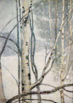 Kuva albumissa PEKKA HALONEN - Google Kuvat.  Talvimaisema 1931.  Hämeenlinnan Taidemuseo.  Foto: Terho Aalto 1990. Aalto, Helene Schjerfbeck, 1990, Chur, Winter Trees, Birch, Paintings, Photo And Video, Google