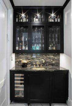 Black Wet Bar Cabinets With And White Marble
