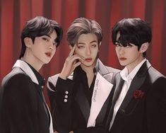 "리마's Instagram profile post: ""🌹 Kim  Royals 🍷  (I archived the individual fanart of each member here)  #Jin #RM #V #BTS #뷔 #진 #석진 #태형 #남준 #방탄소년단 #btsfanart"""