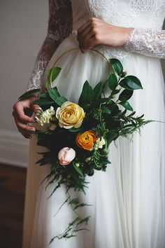 Hoop Bouquets featuring a cluster of Garden Roses, Tulips, & Ranunculi framed by Wispy Ferns Bridal Flowers Bouquet Wedding Florals Deco Floral, Arte Floral, Floral Design, Wedding Bride, Floral Wedding, Bouquet Wedding, Wedding Ceremony, Bouquet Champetre, Flower Girl Bouquet