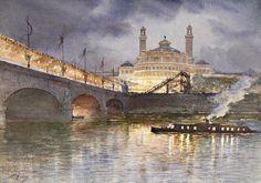 Le Trocadéro, la nuit - H. Zuber - Paris 1878 - Aquarelle - Coll part.