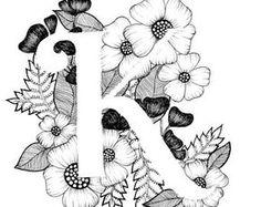 Lettre K print - Alphabet, calligraphie, typographie, monogramme, fleurs - impression d'art à l'encre noir et blanc