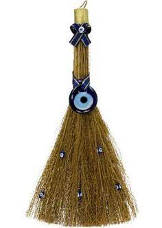 "Magickal Ritual Sacred Tools:  Evil Eye Protection Besom, 10""."