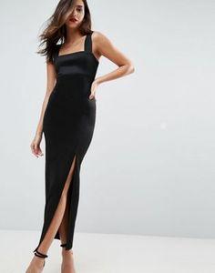 ASOS Square Neck Scuba Maxi Dress With Thigh Split