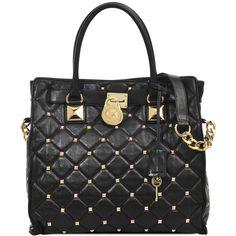 Michael Kors Hamilton large studded leather bag ($590) ❤ liked on Polyvore