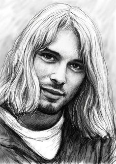 Sketch Drawings - Kurt Cobain Art Drawing Sketch Portrait by Kim Wang Kurt Cobain Art, Nirvana Kurt Cobain, Art Drawings Sketches, Cool Drawings, Pencil Drawings, Nirvana Band, Donald Cobain, Smells Like Teen Spirit, Rock N Roll