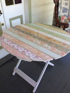 Adorable mixed print decoupage table