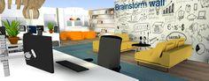 MultiWork#kantoor#oranje#blauw#werkplekken#brainstormwall