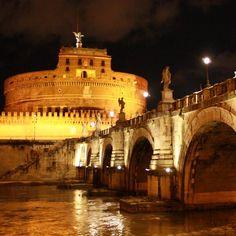 Rome / Italy After dark Castle and bridge Sant'Angelo illuminates fantastic illumination
