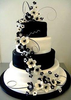 Stunning Black and White Floral Wedding Cake! #wedding #cake