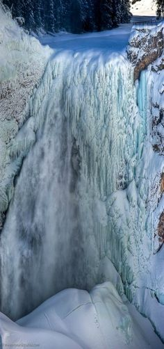 Yellowstone Falls in Winter, Up Close and Personal, Wyoming, USA