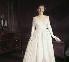Mamie Eisenhower and husband Dwight entertained unprecedented numbers of heads of state at the White House. She loved pretty dresses and jewelery and her inaugural gown is on display at the Smithsonian Museum.