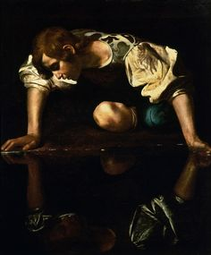 Caravaggio, Narcissus at the Source, 1597-99 NOTES: - Dimmer reflection - could this be a metaphor for the darkness of the tale behind the painting? - possible abstract metaphor of a meditation on the concept of painting - notice foreshortening and the invasion of the viewer's space through intamacy of the distance